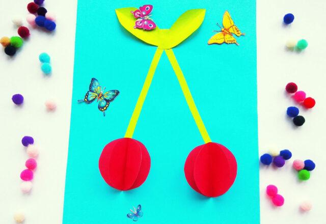 Яркая объемная аппликация «Вишенки» из бумаги для детей