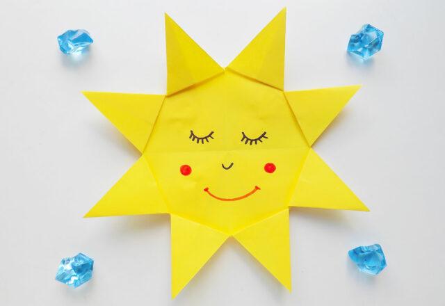 Простое оригами «Солнышко» из бумаги для начинающих