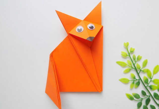 """Оригами """"Лисичка"""" из цветной бумаги для детей пошагово"""