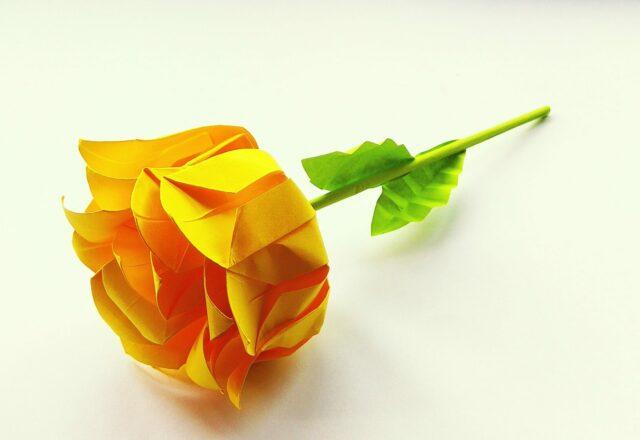 Объемная роза из цветной бумаги своими руками
