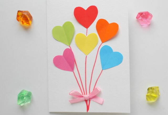 """""""Сердца"""" открытка-поделка из бумаги для начинающих"""