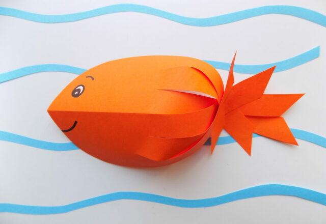 """Объемная аппликация """"Рыбка"""" из цветной бумаги для начинающих"""