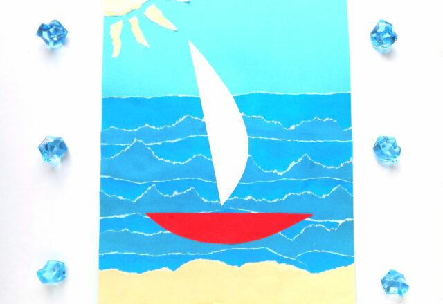 Обрывная аппликация «Море» из цветной бумаги для детей