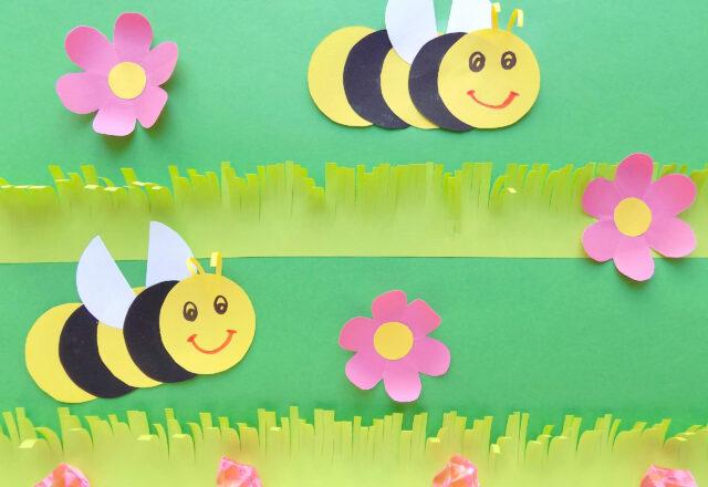 Летняя объемная аппликация «Пчелки на полянке» из цветной бумаги
