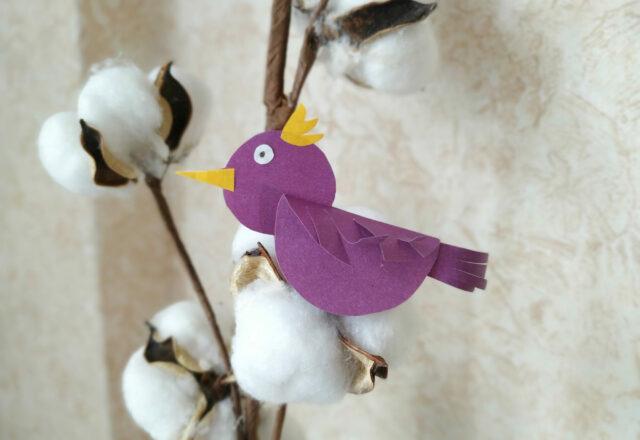 Поделка аппликация «Птичка» из цветной бумаги для детей