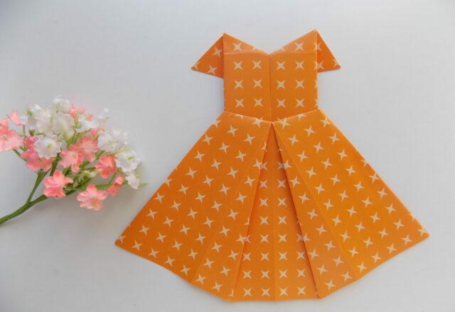 Пошаговый мастер-класс оригами «Платье» из бумаги для детей