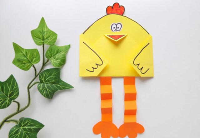 """Поделка из цветной бумаги """"Цыпленок"""" для детей своими руками"""