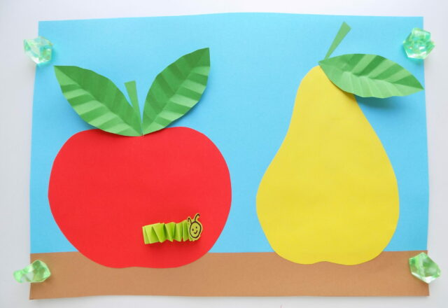 """Объемная аппликация """"Фрукты"""" из цветной бумаги для детей"""